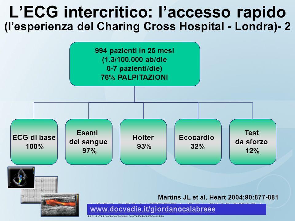 L'ECG intercritico: l'accesso rapido (l'esperienza del Charing Cross Hospital - Londra)- 2