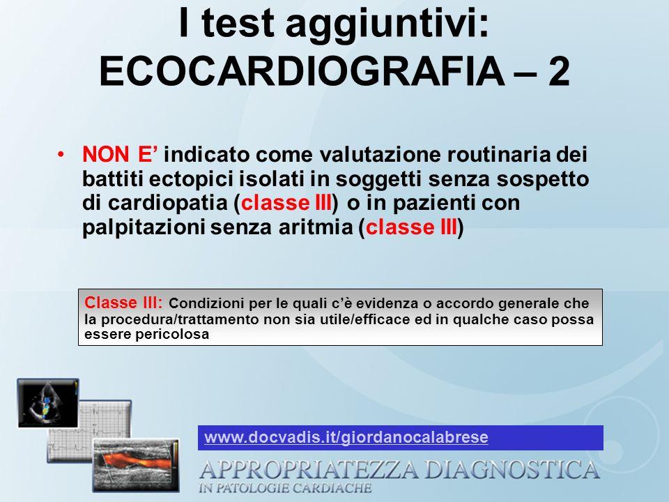 I test aggiuntivi: ECOCARDIOGRAFIA – 2