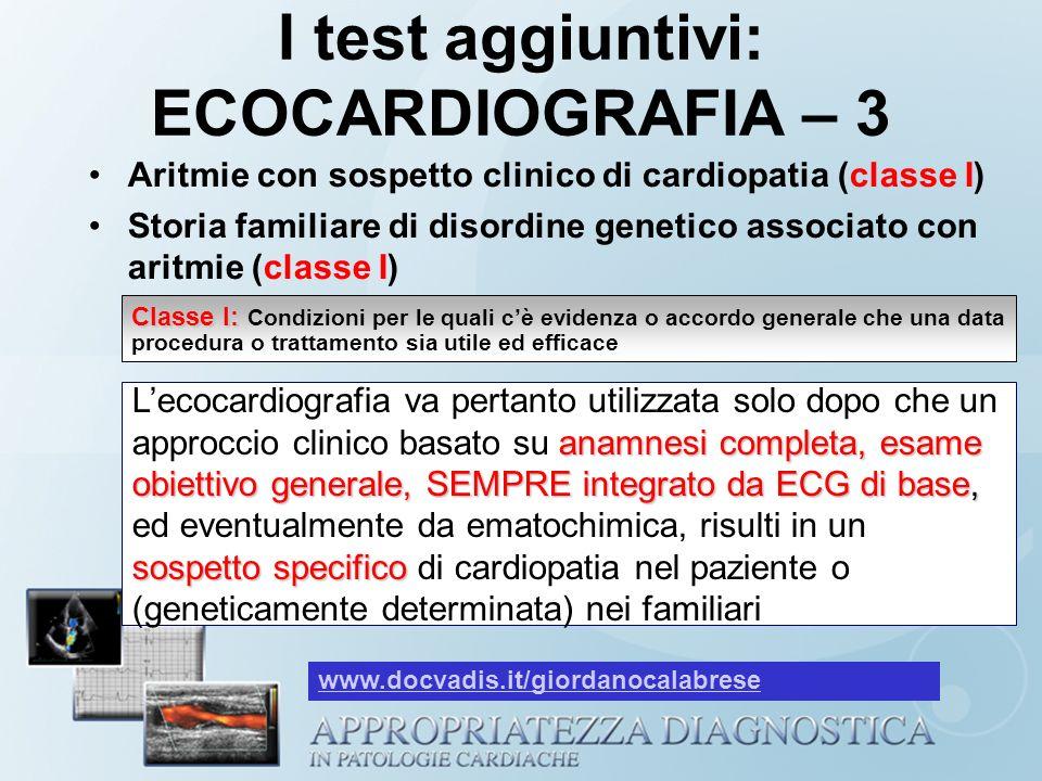 I test aggiuntivi: ECOCARDIOGRAFIA – 3