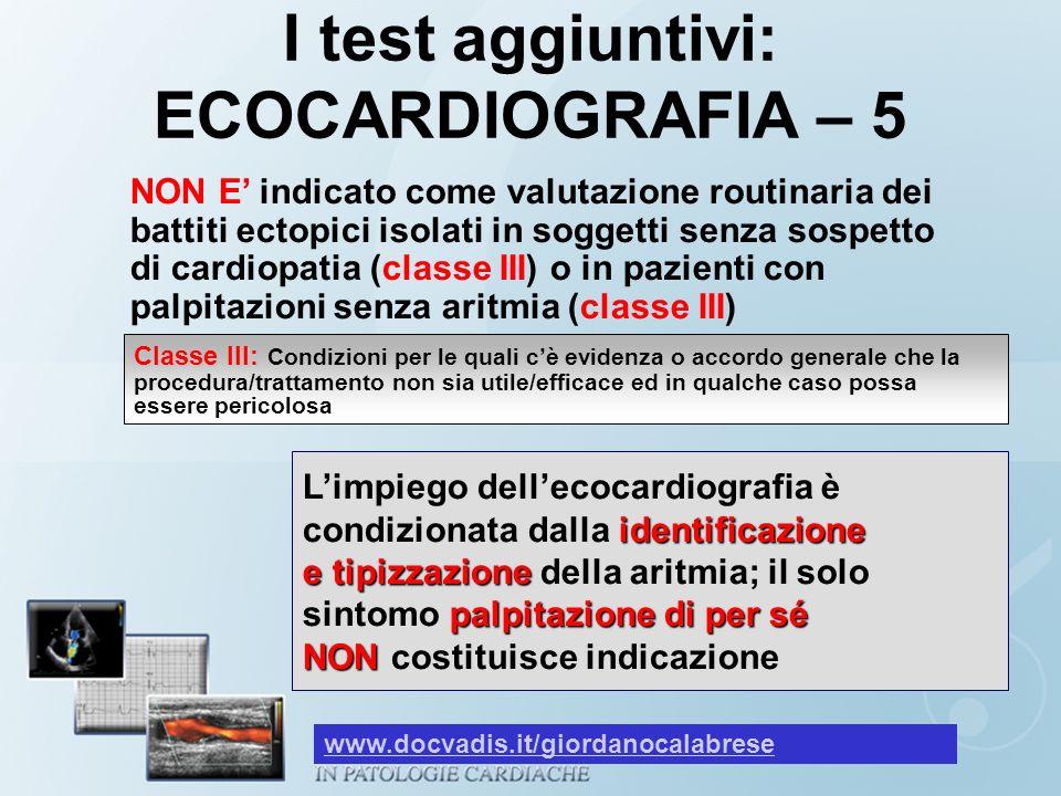 I test aggiuntivi: ECOCARDIOGRAFIA – 5