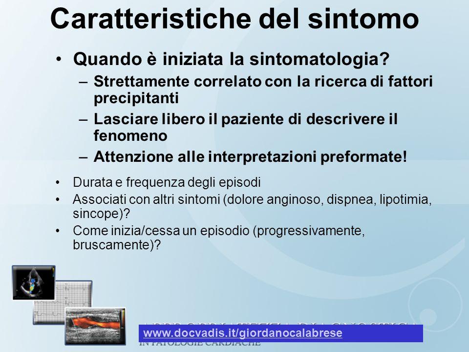 Caratteristiche del sintomo