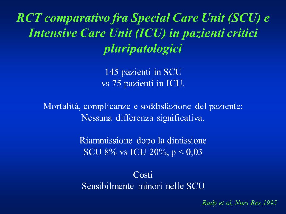RCT comparativo fra Special Care Unit (SCU) e Intensive Care Unit (ICU) in pazienti critici pluripatologici