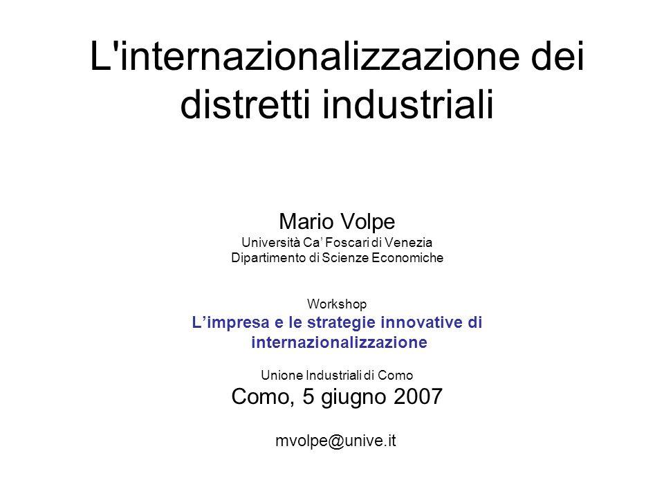 L internazionalizzazione dei distretti industriali Mario Volpe Università Ca' Foscari di Venezia Dipartimento di Scienze Economiche Workshop L'impresa e le strategie innovative di internazionalizzazione Unione Industriali di Como Como, 5 giugno 2007 mvolpe@unive.it