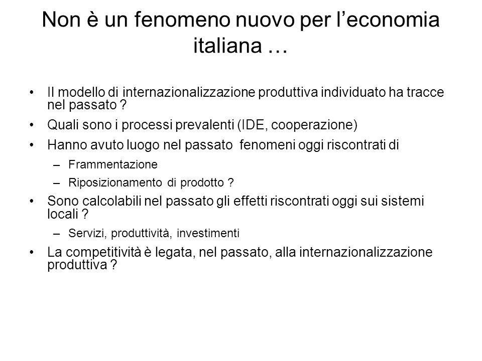 Non è un fenomeno nuovo per l'economia italiana …