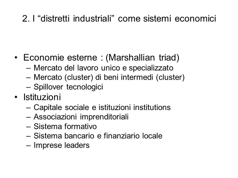 2. I distretti industriali come sistemi economici