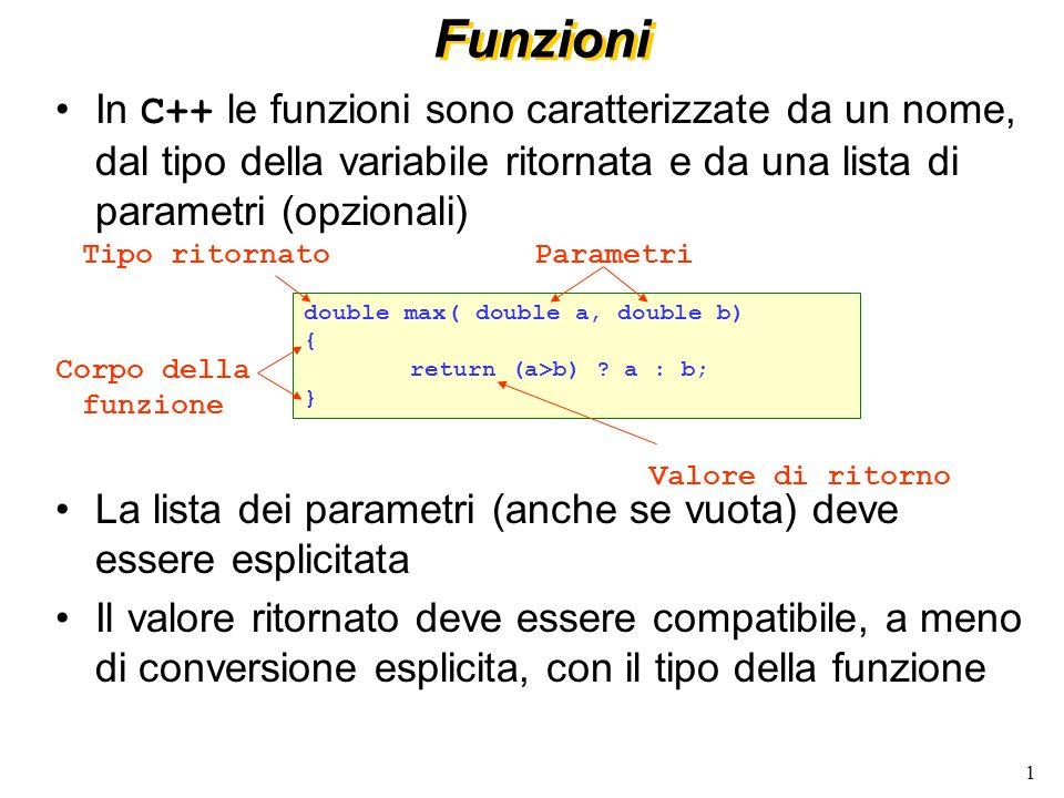 Funzioni In C++ le funzioni sono caratterizzate da un nome, dal tipo della variabile ritornata e da una lista di parametri (opzionali)