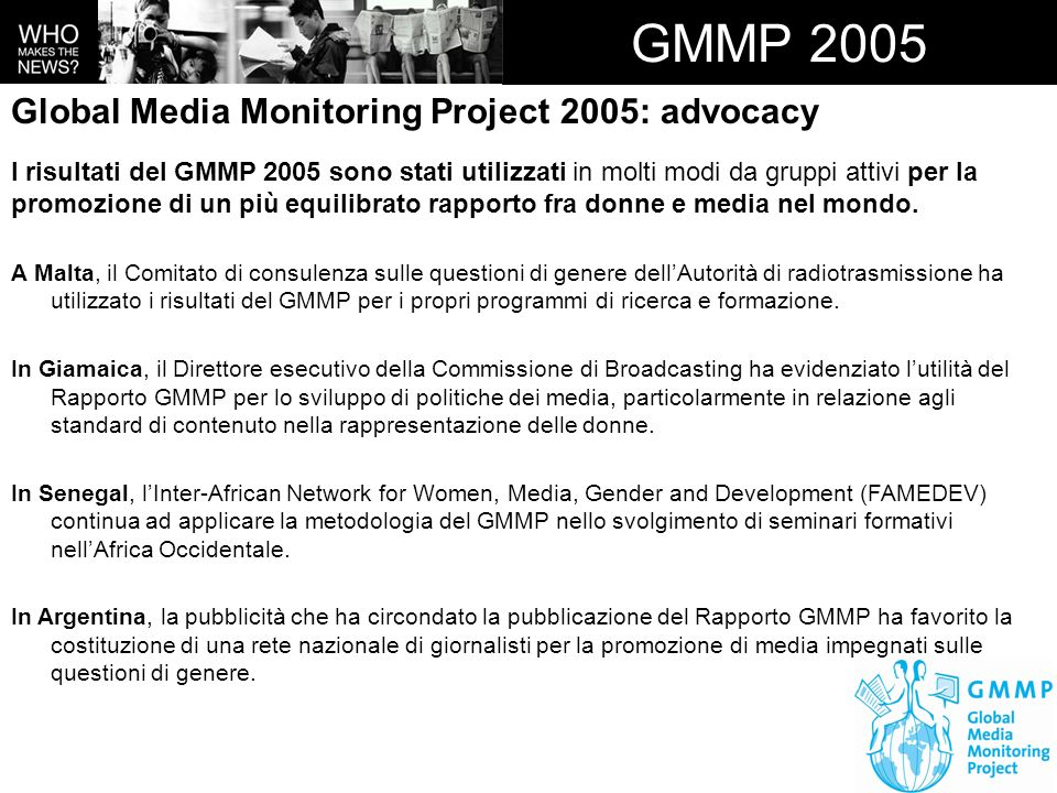 GMMP 2005 Global Media Monitoring Project 2005: advocacy