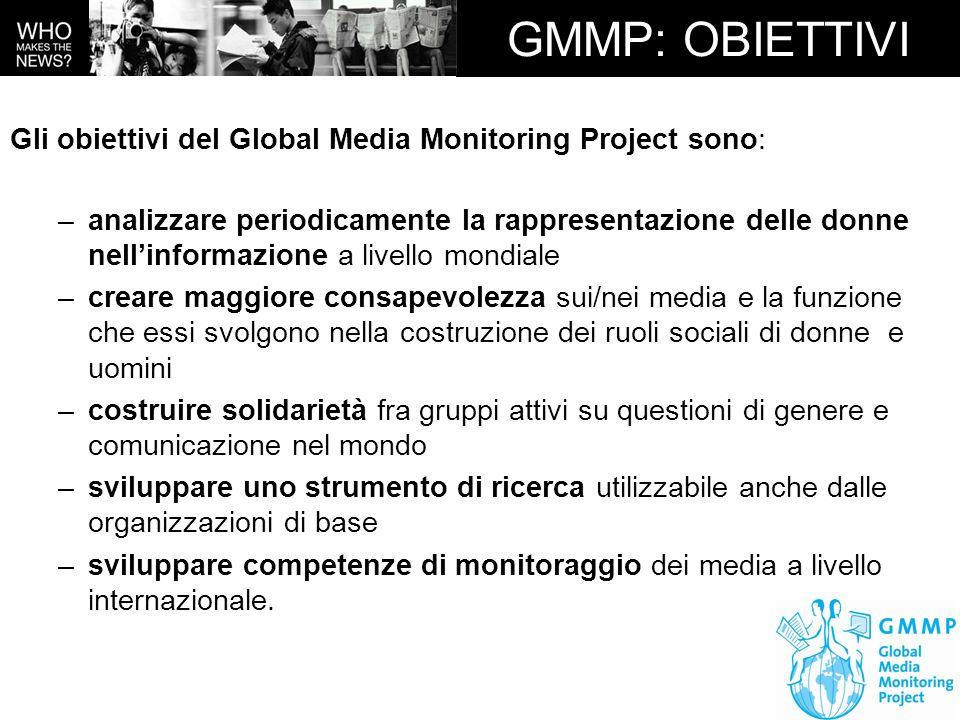 GMMP: OBIETTIVI Gli obiettivi del Global Media Monitoring Project sono:
