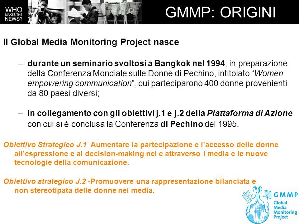 GMMP: ORIGINI Il Global Media Monitoring Project nasce