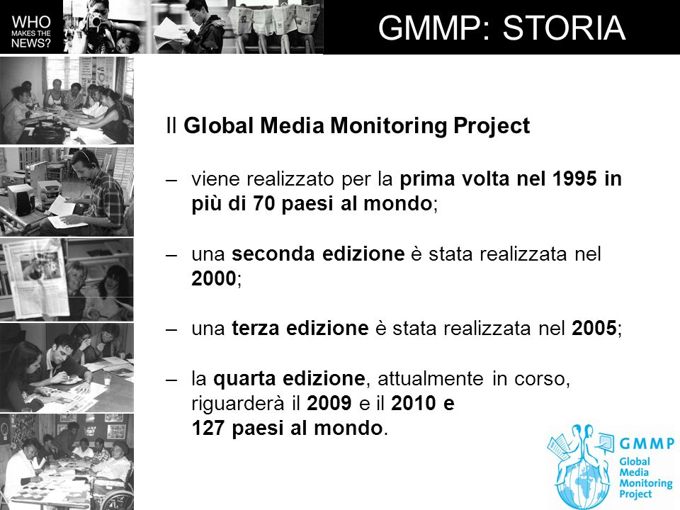 GMMP: STORIA Il Global Media Monitoring Project