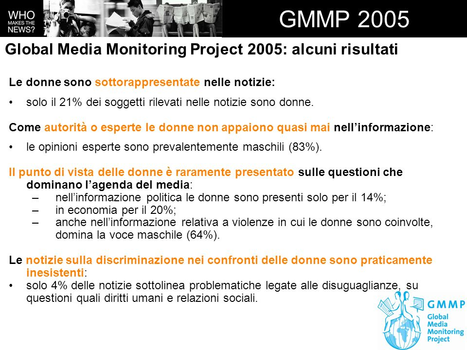 GMMP 2005 Global Media Monitoring Project 2005: alcuni risultati
