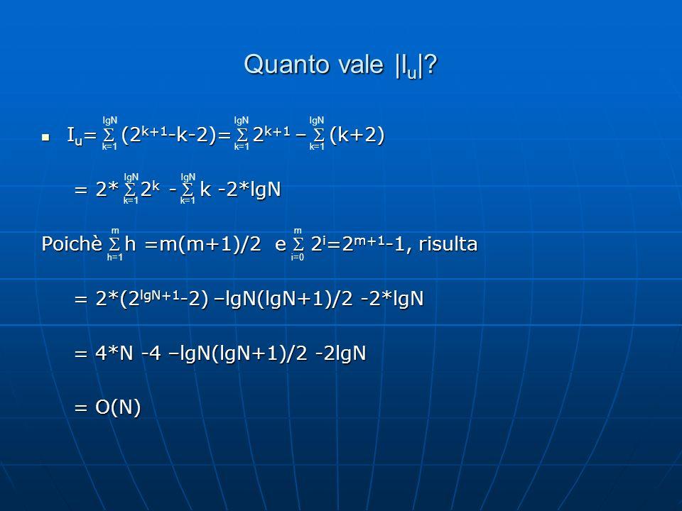 Quanto vale |Iu| Iu= S (2k+1-k-2)= S 2k+1 – S (k+2)