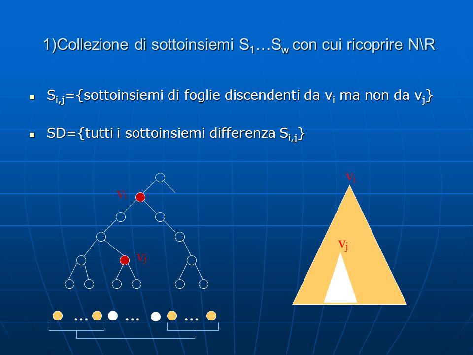 1)Collezione di sottoinsiemi S1…Sw con cui ricoprire N\R