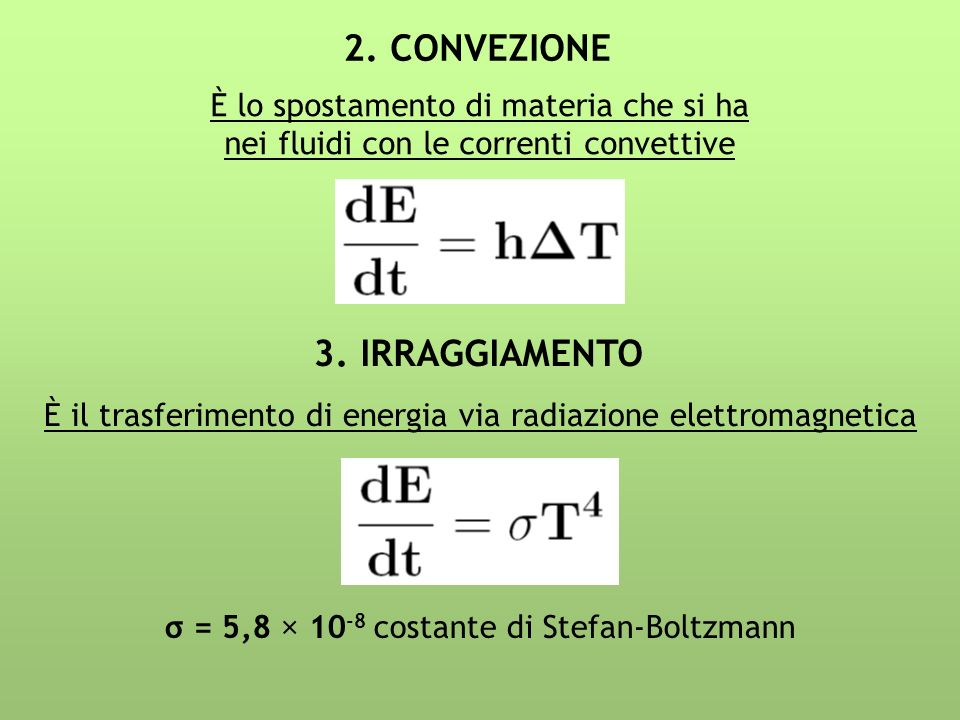 2. CONVEZIONE 3. IRRAGGIAMENTO È lo spostamento di materia che si ha