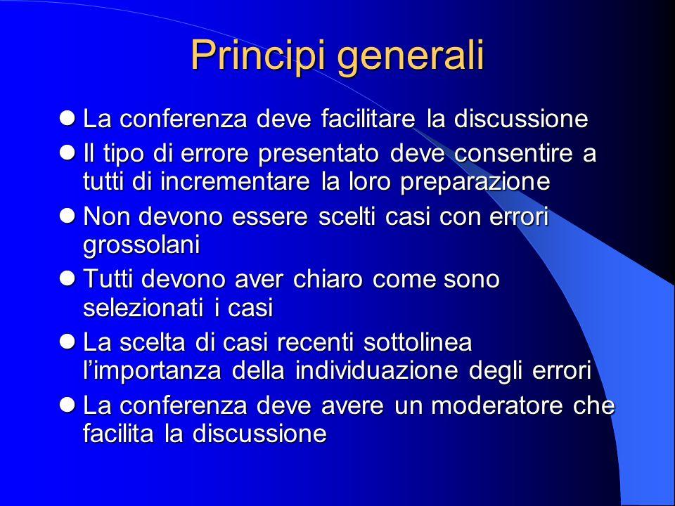 Principi generali La conferenza deve facilitare la discussione