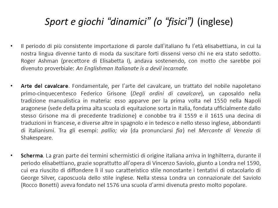 Sport e giochi dinamici (o fisici ) (inglese)