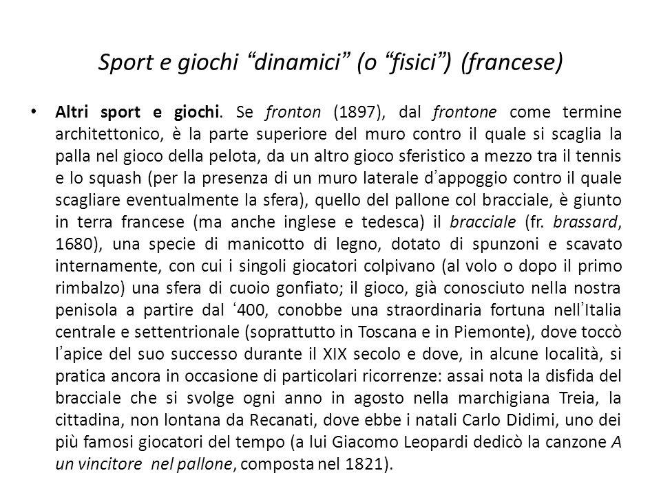 Sport e giochi dinamici (o fisici ) (francese)