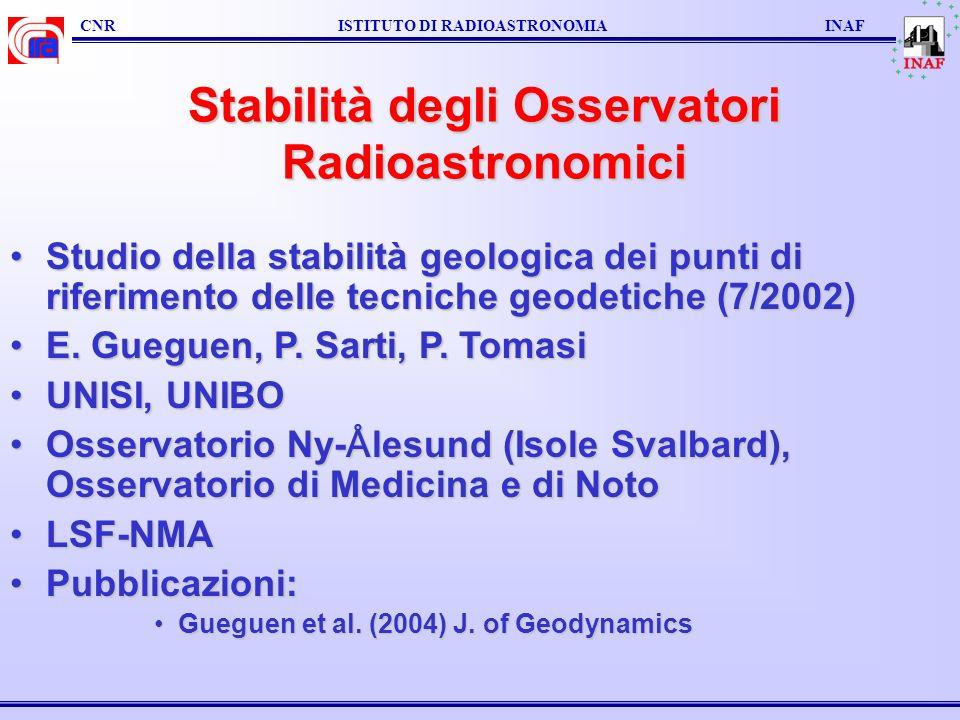 Stabilità degli Osservatori Radioastronomici