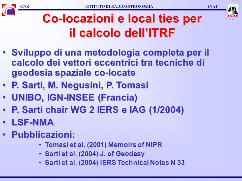 Co-locazioni e local ties per