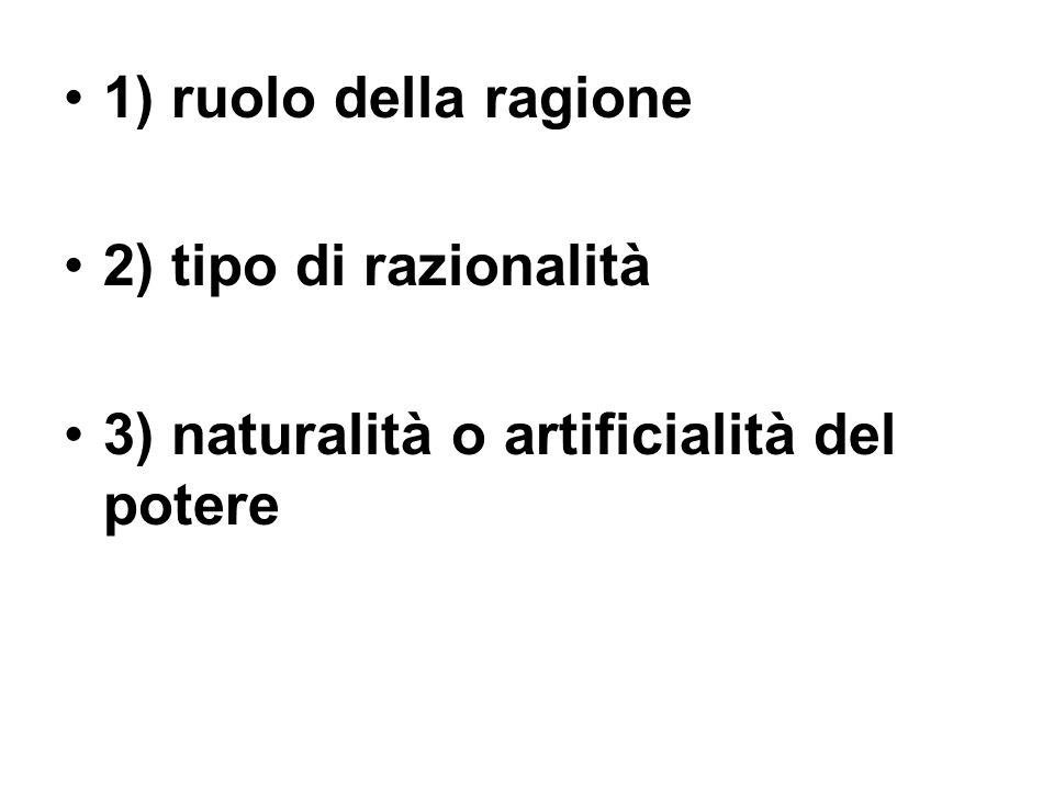 1) ruolo della ragione 2) tipo di razionalità 3) naturalità o artificialità del potere