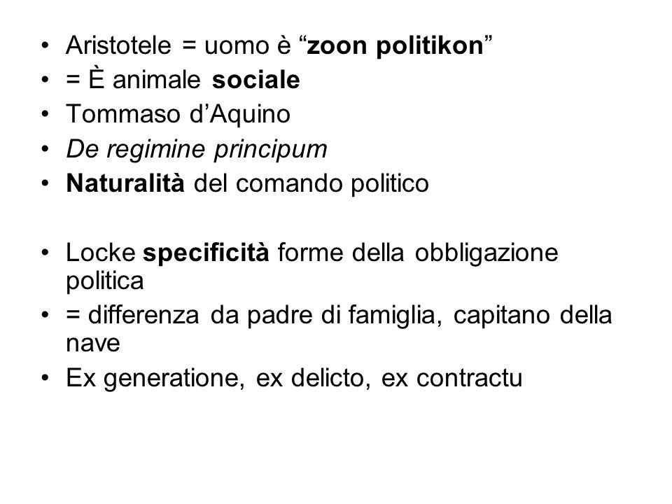 Aristotele = uomo è zoon politikon