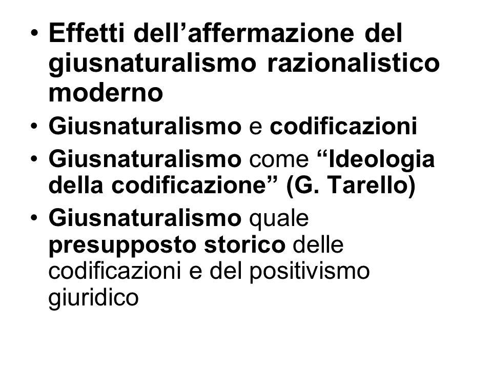 Effetti dell'affermazione del giusnaturalismo razionalistico moderno