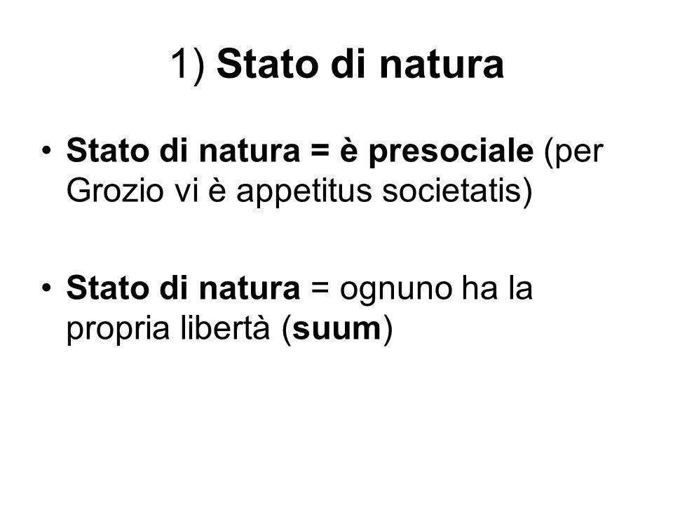 1) Stato di natura Stato di natura = è presociale (per Grozio vi è appetitus societatis) Stato di natura = ognuno ha la propria libertà (suum)