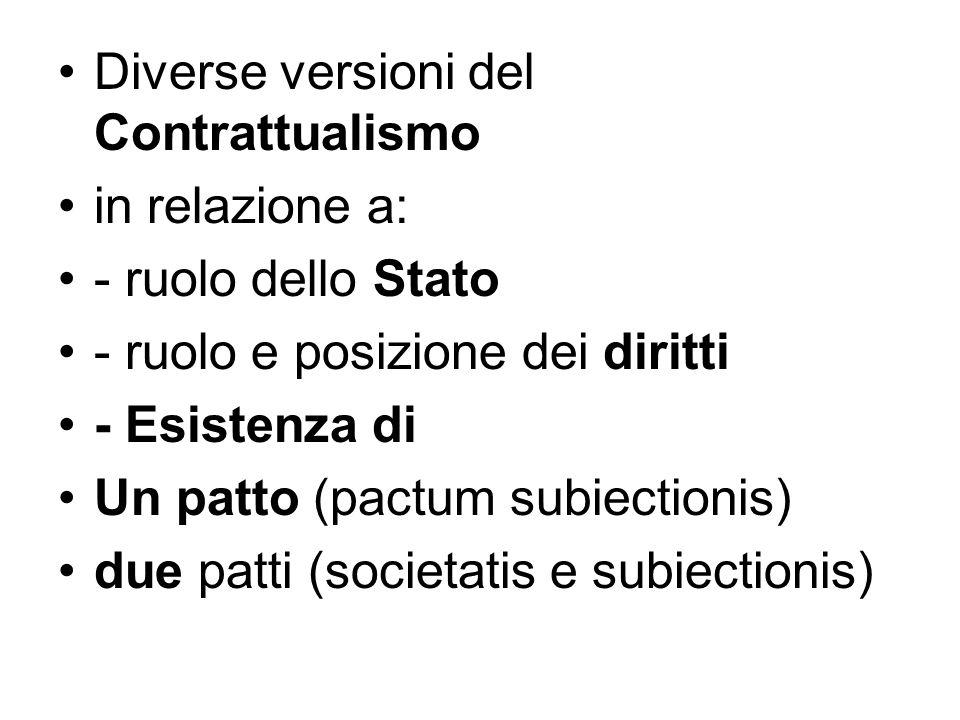 Diverse versioni del Contrattualismo