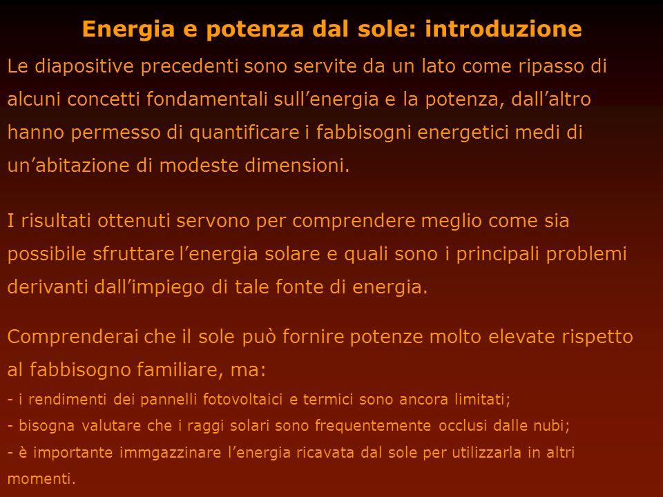 Energia e potenza dal sole: introduzione