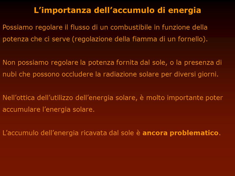 L'importanza dell'accumulo di energia