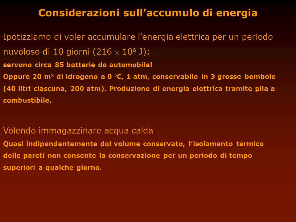 Considerazioni sull'accumulo di energia