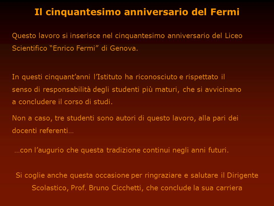 Il cinquantesimo anniversario del Fermi