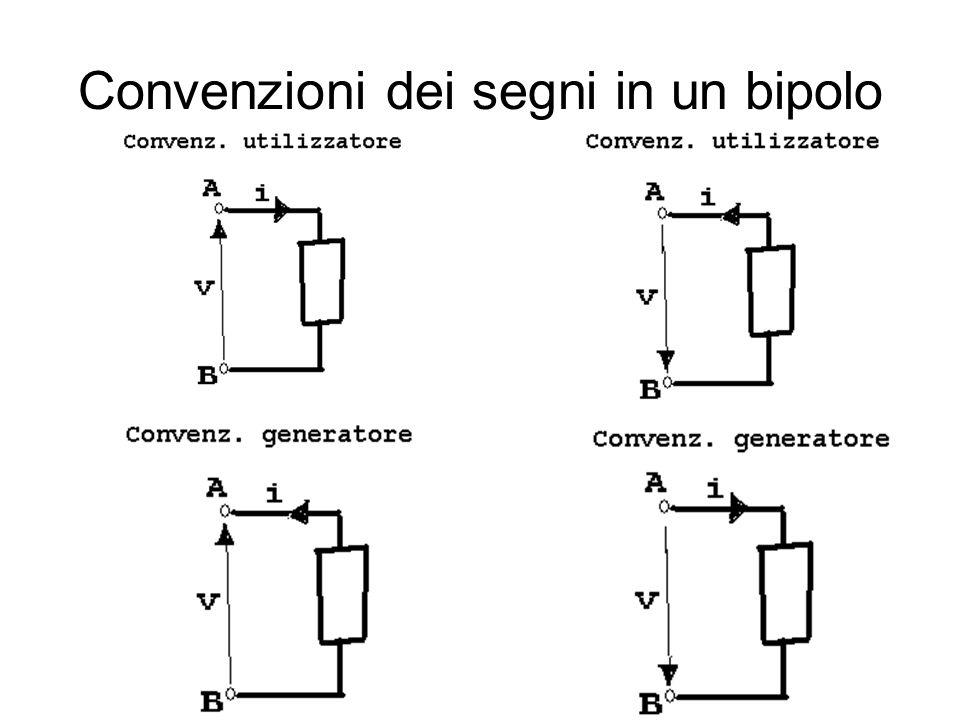 Convenzioni dei segni in un bipolo