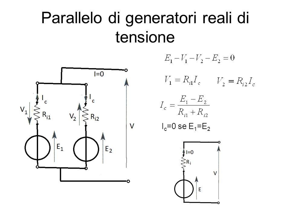 Parallelo di generatori reali di tensione