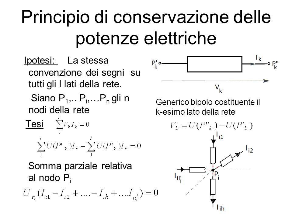 Principio di conservazione delle potenze elettriche