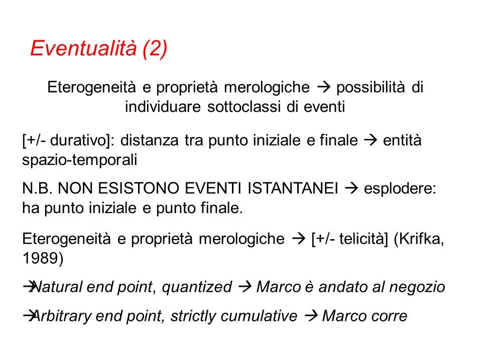 Eventualità (2) Eterogeneità e proprietà merologiche  possibilità di individuare sottoclassi di eventi.