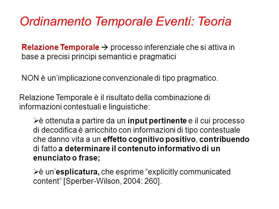 Ordinamento Temporale Eventi: Teoria