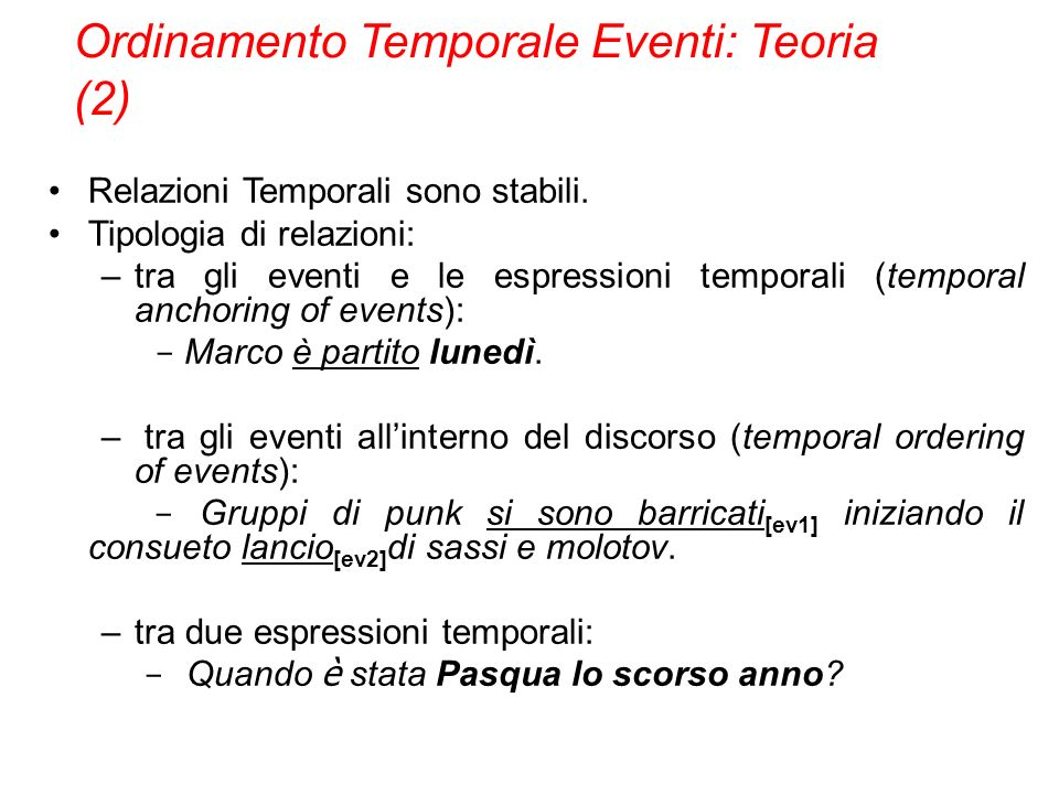 Ordinamento Temporale Eventi: Teoria (2)