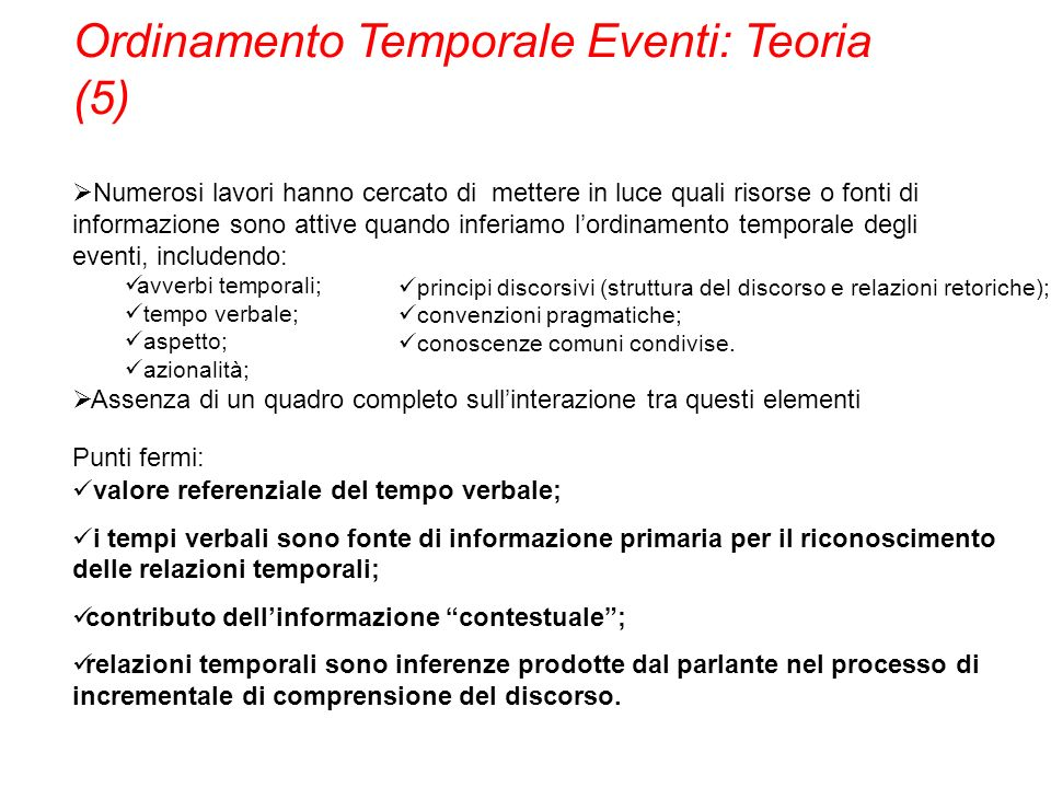 Ordinamento Temporale Eventi: Teoria (5)