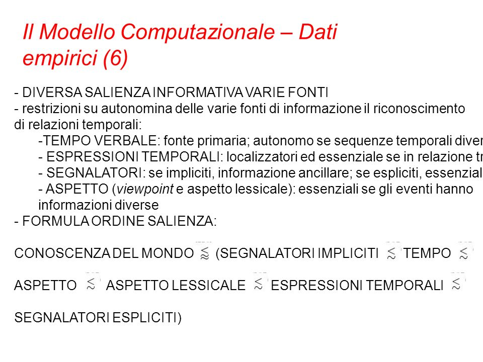 Il Modello Computazionale – Dati empirici (6)