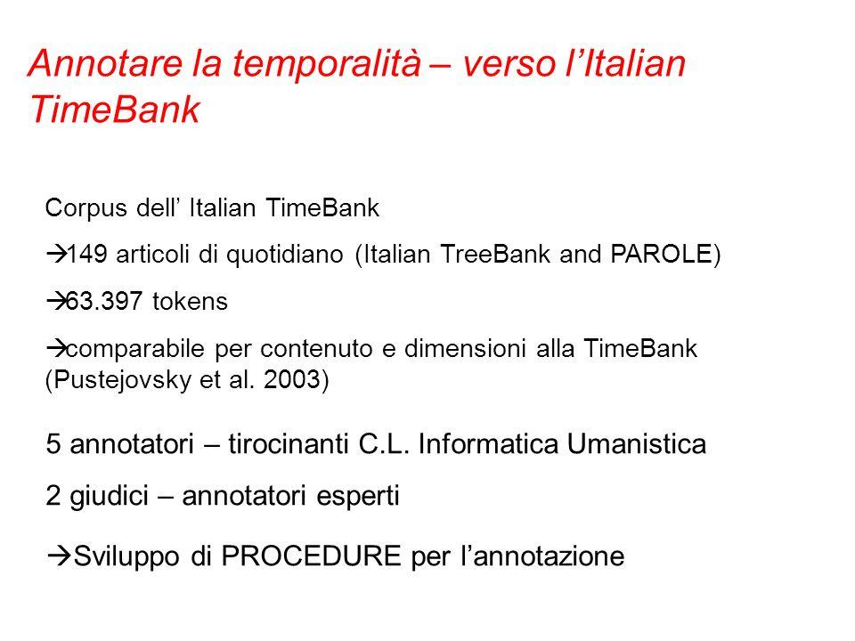 Annotare la temporalità – verso l'Italian TimeBank