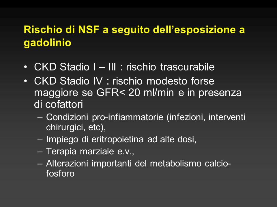 Rischio di NSF a seguito dell'esposizione a gadolinio