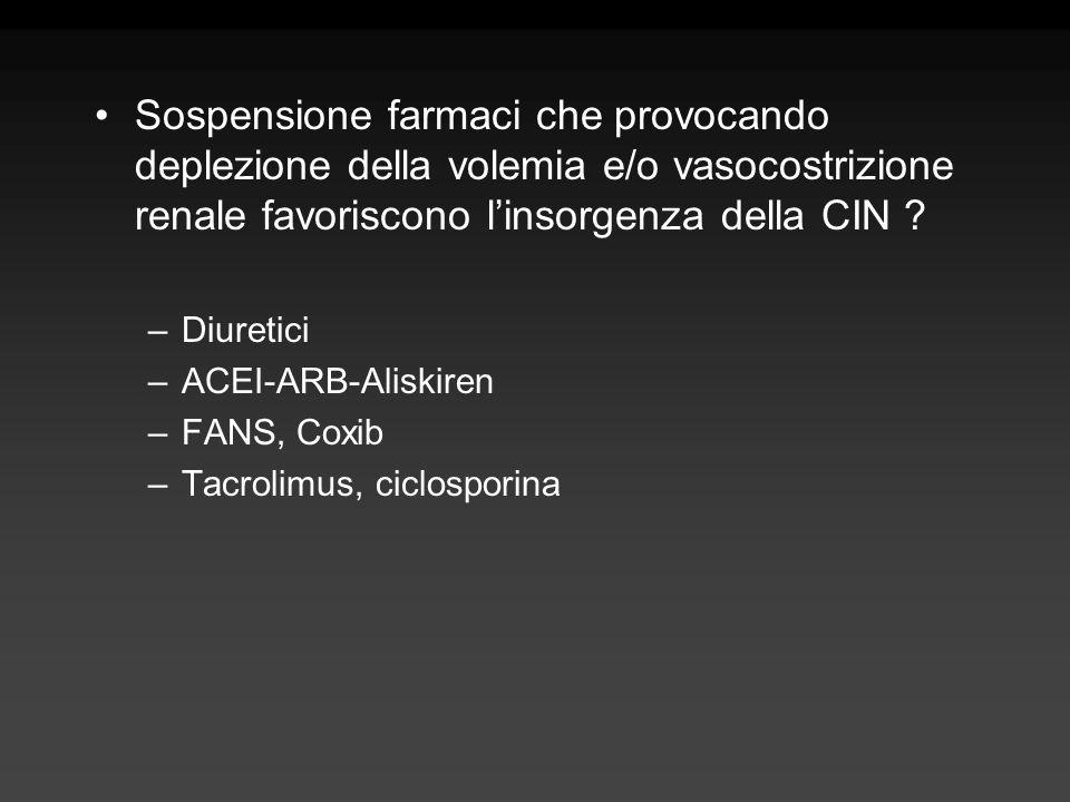 Sospensione farmaci che provocando deplezione della volemia e/o vasocostrizione renale favoriscono l'insorgenza della CIN