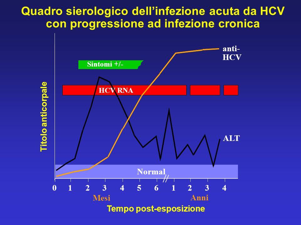 Quadro sierologico dell'infezione acuta da HCV con progressione ad infezione cronica