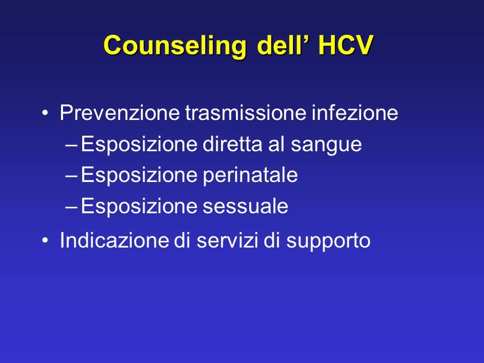 Counseling dell' HCV Prevenzione trasmissione infezione