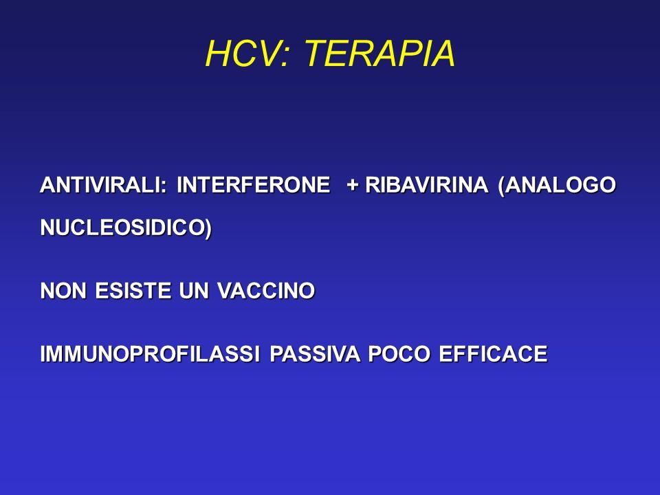 HCV: TERAPIAANTIVIRALI: INTERFERONE + RIBAVIRINA (ANALOGO NUCLEOSIDICO) NON ESISTE UN VACCINO.