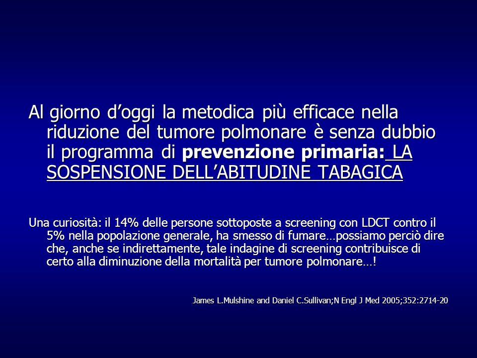 Al giorno d'oggi la metodica più efficace nella riduzione del tumore polmonare è senza dubbio il programma di prevenzione primaria: LA SOSPENSIONE DELL'ABITUDINE TABAGICA