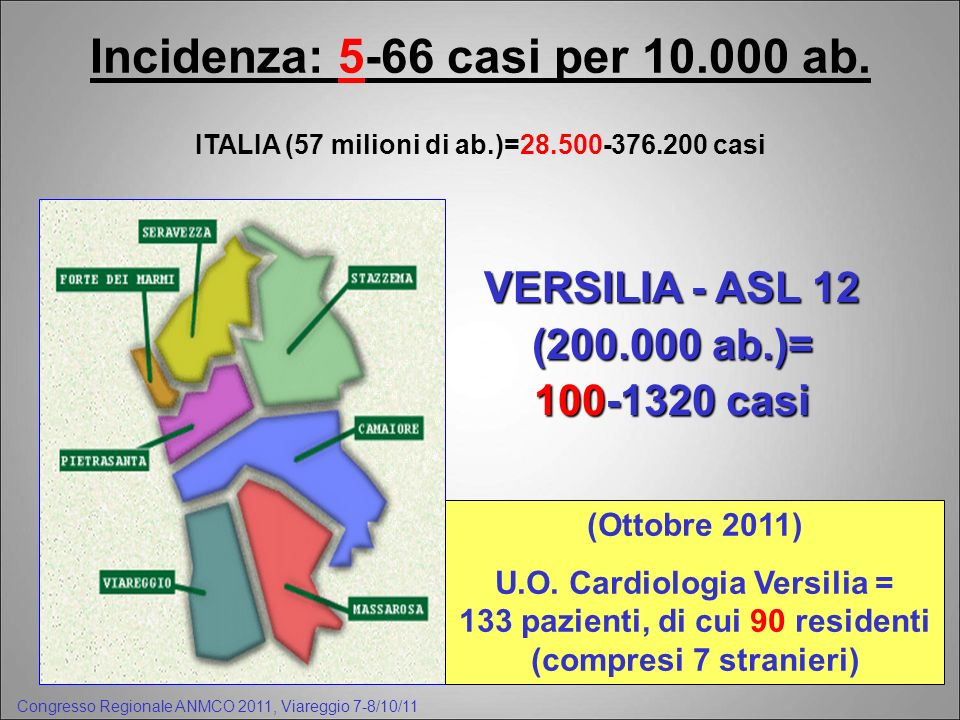 Incidenza: 5-66 casi per ab.