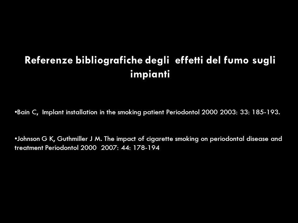 Referenze bibliografiche degli effetti del fumo sugli impianti
