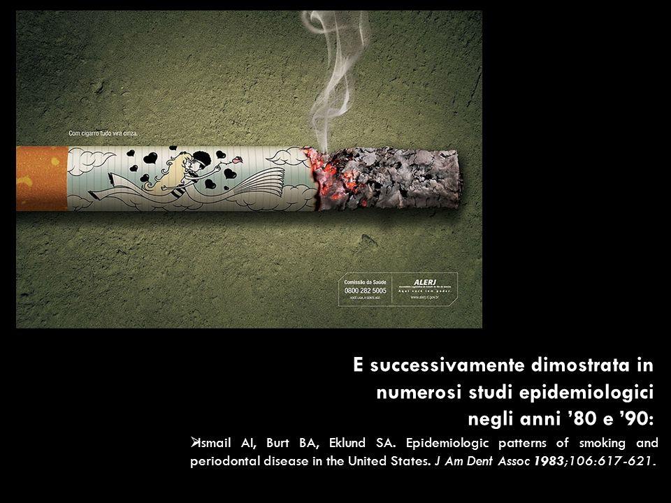 E successivamente dimostrata in numerosi studi epidemiologici negli anni '80 e '90:
